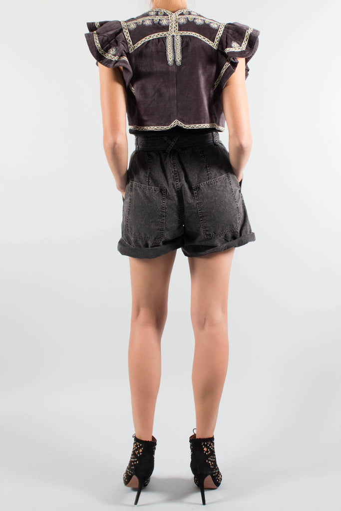Isabel Marant ABIS Cropped Vest with Ruffle Sleeve