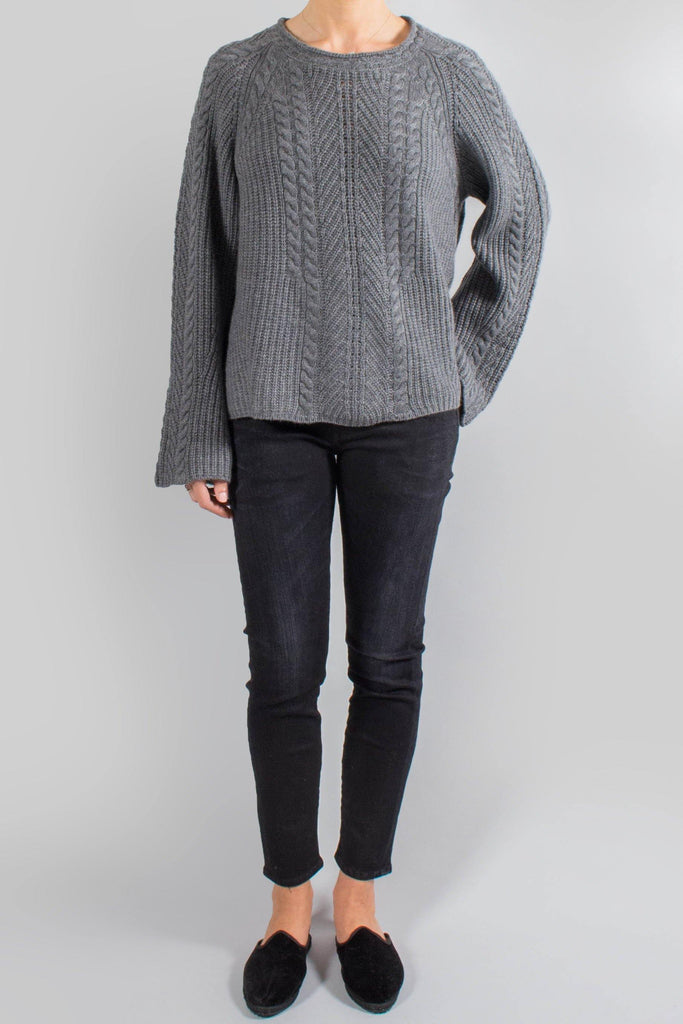 Le Kasha Cable Knit Flared Sleeve Sweater