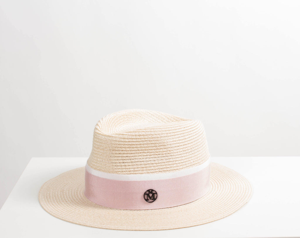 Maison Michel ANDRE Natural Straw Hat With Pink Ribbon Trim – Misch 8fb0ee423fd