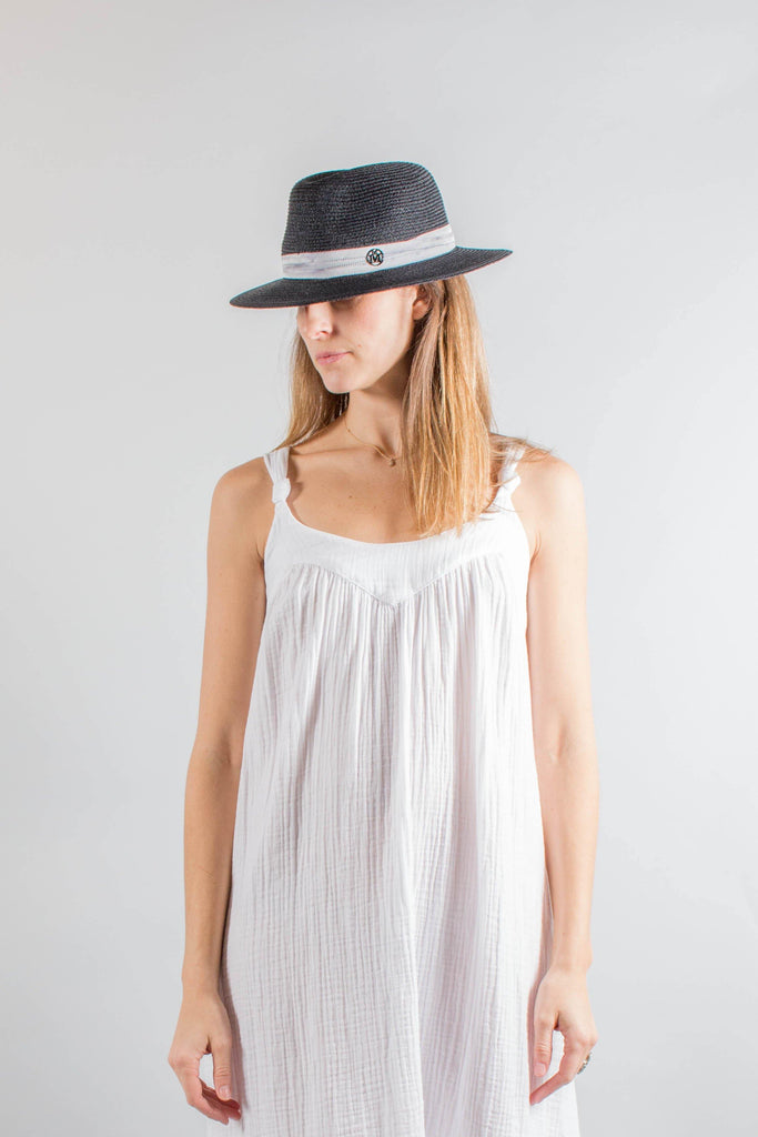Maison Michel Black Straw DEREK Hat