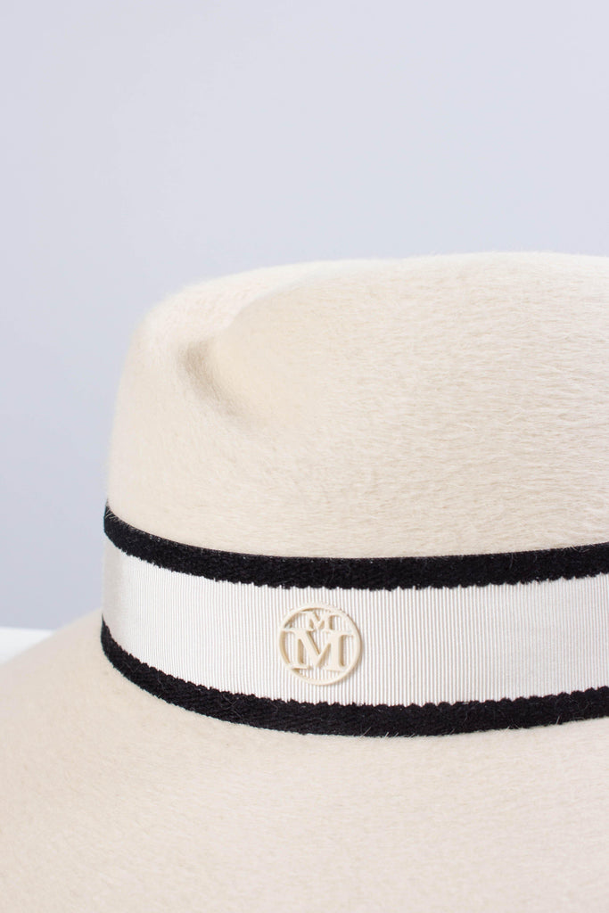 Maison Michel ROSE Hat with Striped Ribbon