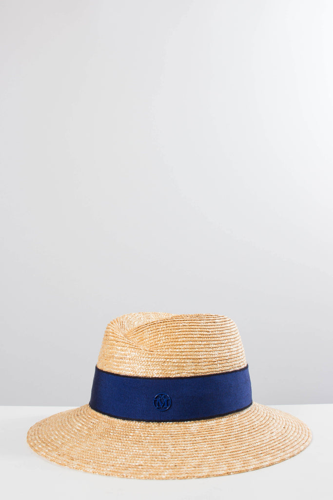 Maison Michel Straw VIRGINIE Hat with Electric Blue Ribbon