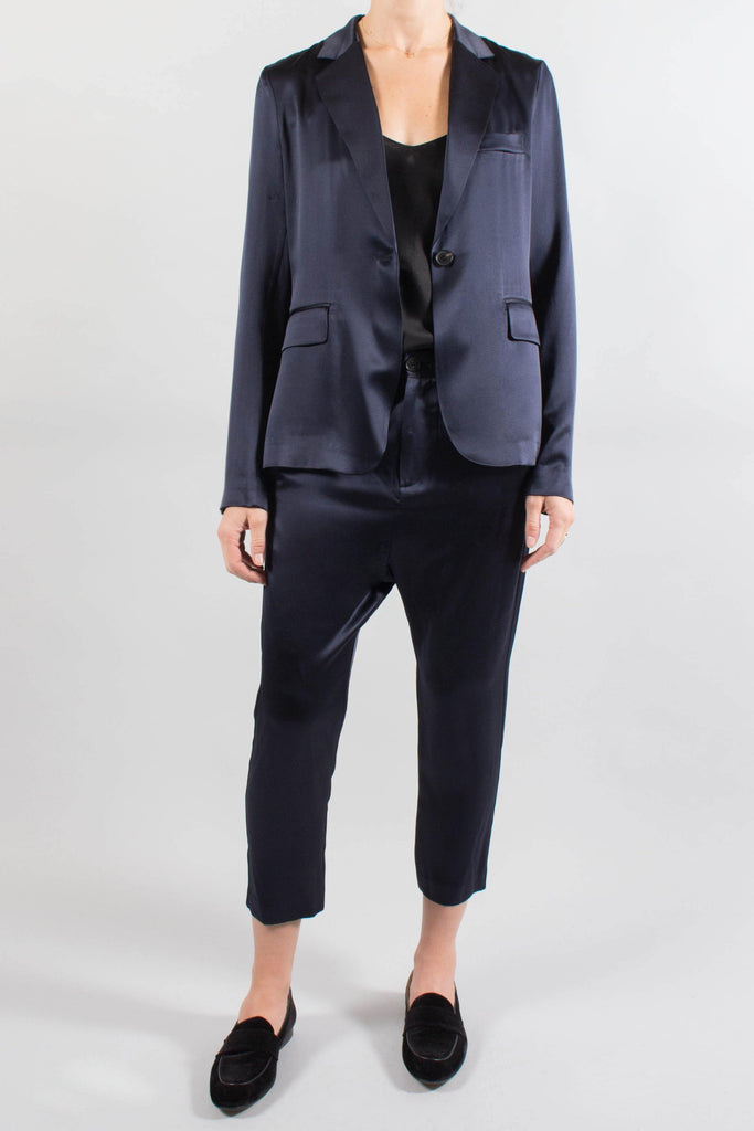 Nili Lotan Navy Silk Paris Pant