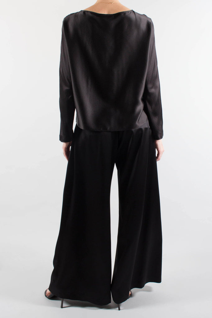Nili Lotan READE Black Silk Satin Top