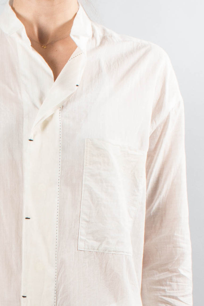 Pas De Calais Oversize Cotton Blouse with Topstitching Detail
