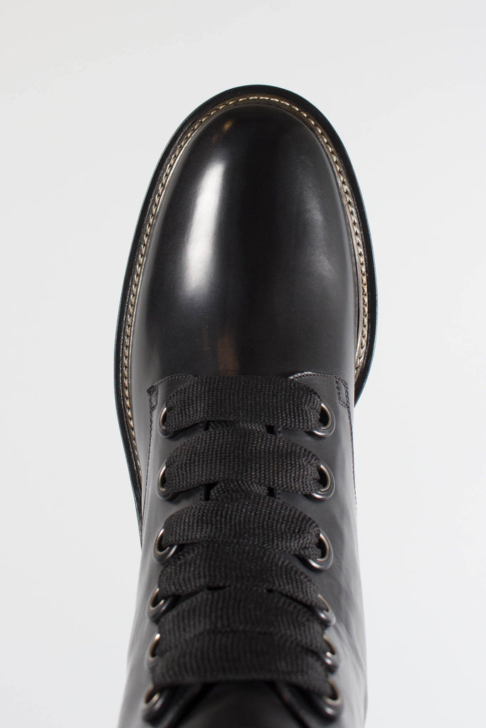 Sartore Combat Boots with Grosgrain Ribbon and Rubber Sole