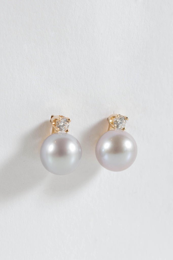 Satomi Kawakita Grey Pearl Diamond Dewdrop Stud Earrings