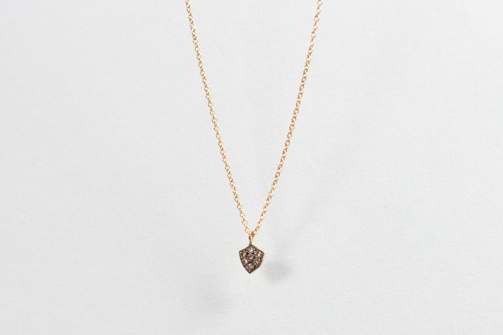 Satomi Kawakita Brown Diamond Shield-Shaped Necklace