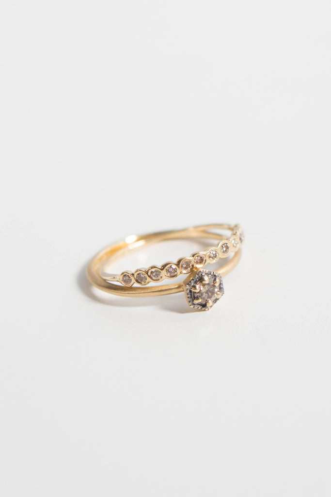 Satomi Kawakita Hexagon Brown Diamond Ring