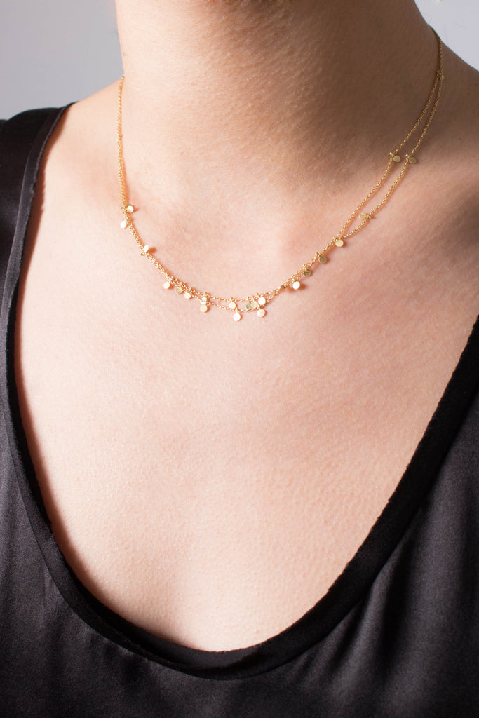 "Sia Taylor Double Layered 16"" Yellow Gold Necklace"