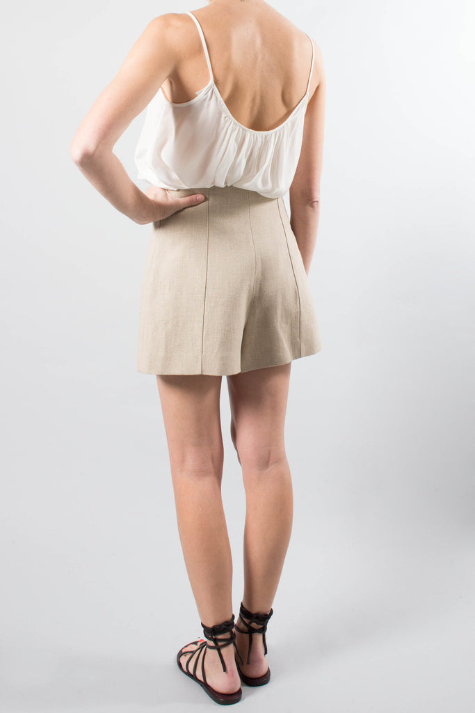 Vanessa Bruno Linen High Waisted Shorts