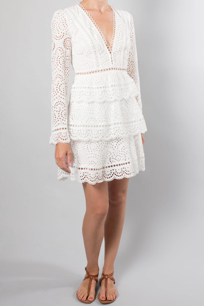 Zimmermann Long Sleeve V-Neck Eyelet Dress