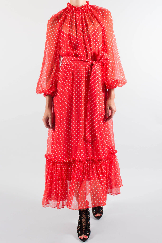ZIMMERMANN Ninety-Six Swing Polka Dot Chiffon Dress
