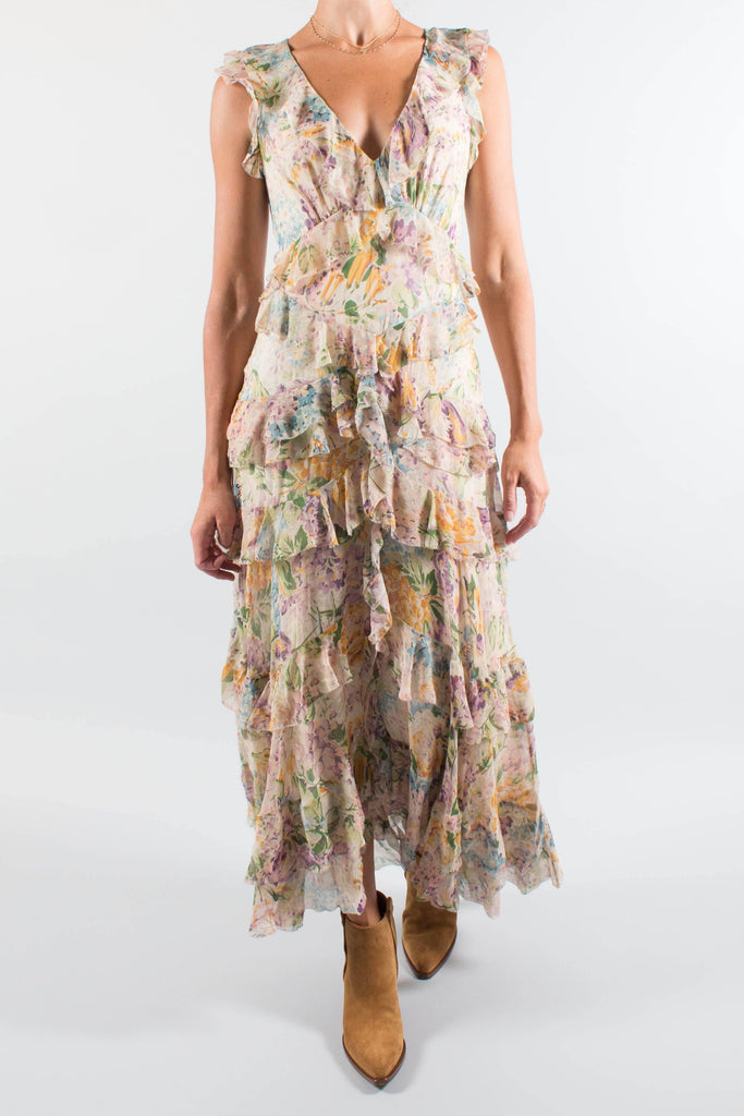 Zimmermann Ninety-Six Flutter Floral Printed Silk Maxi Dress