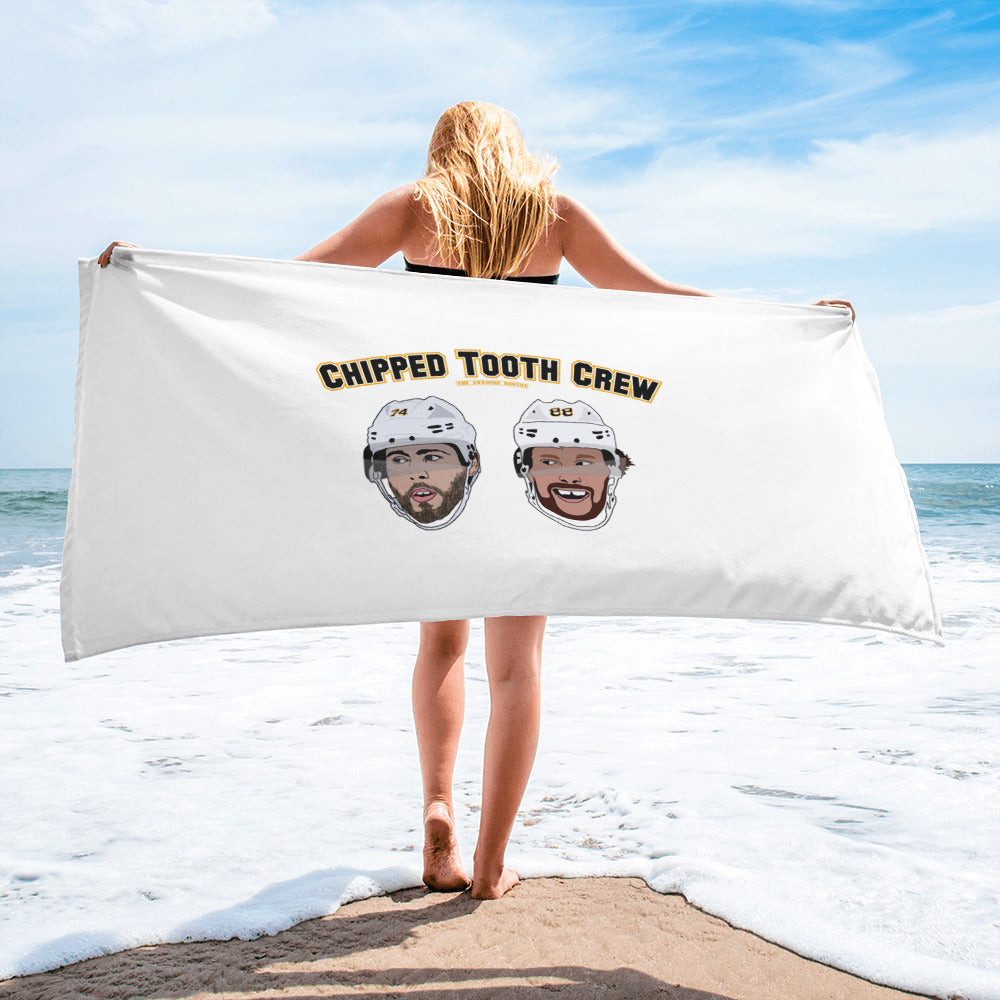 'Chipped Tooth Crew' Pastrnak and DeBrusk Boston Bruins Beach Towel