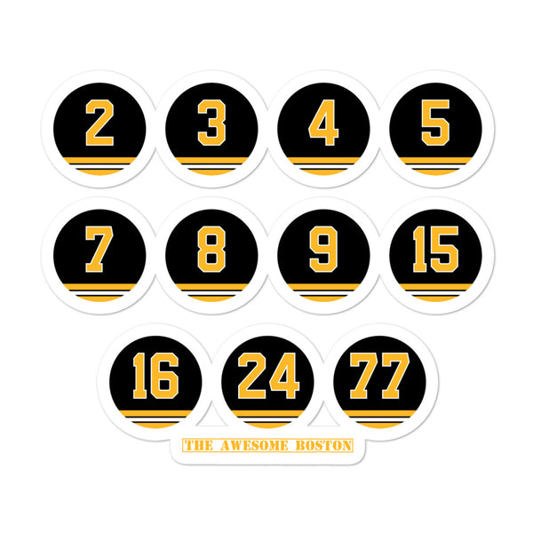 Boston Bruins Black & Gold Retired Numbers Sticker