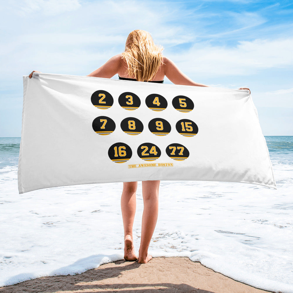 Boston Bruins Retired Numbers Beach Towel