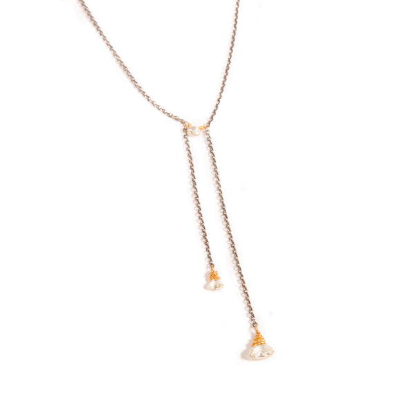 Diamond Double Drop Heart Briolette Necklace