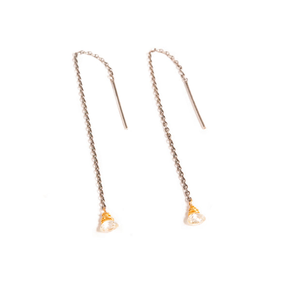 Diamond Heart Briolette Threader Earrings