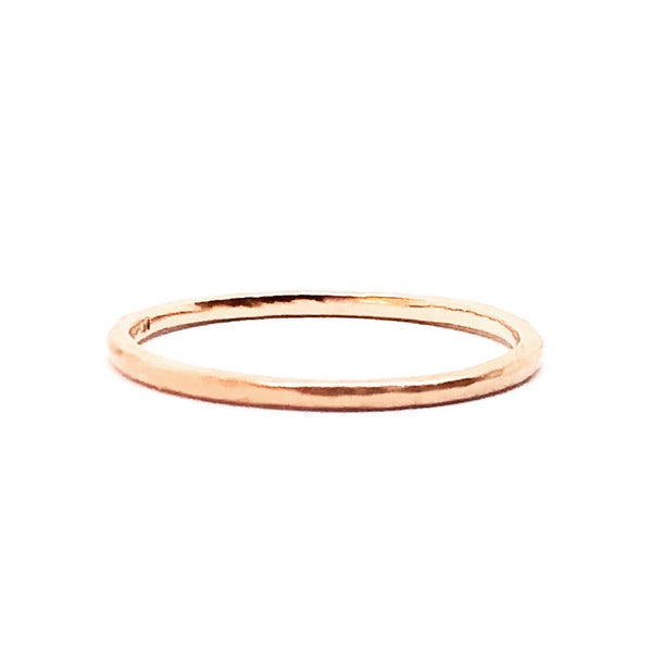Skinny Hammered Gold Band