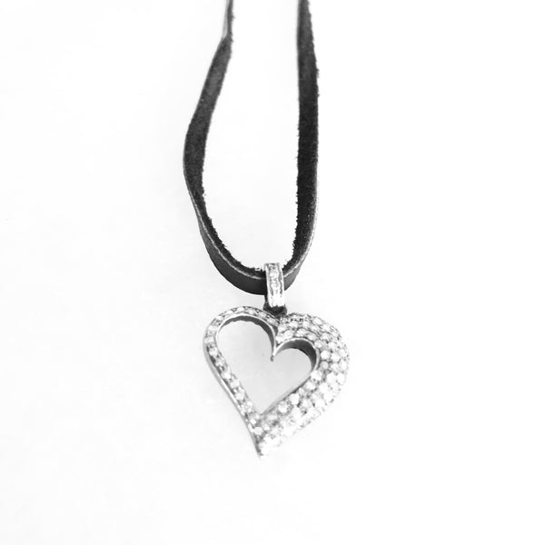 Pave Diamond Open Heart Pendant