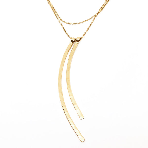 Long Hammered Double Arc Necklace