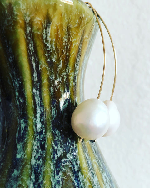 Baroque Pearl Arc Earrings
