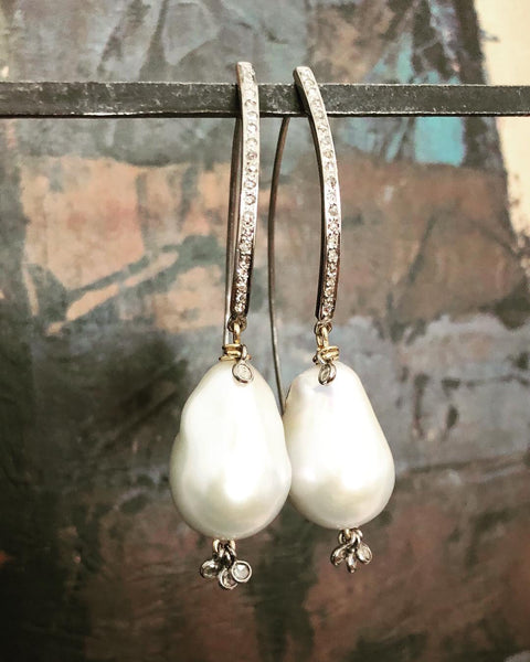 Baroque Pearl and Diamond Deco Drop Earrings