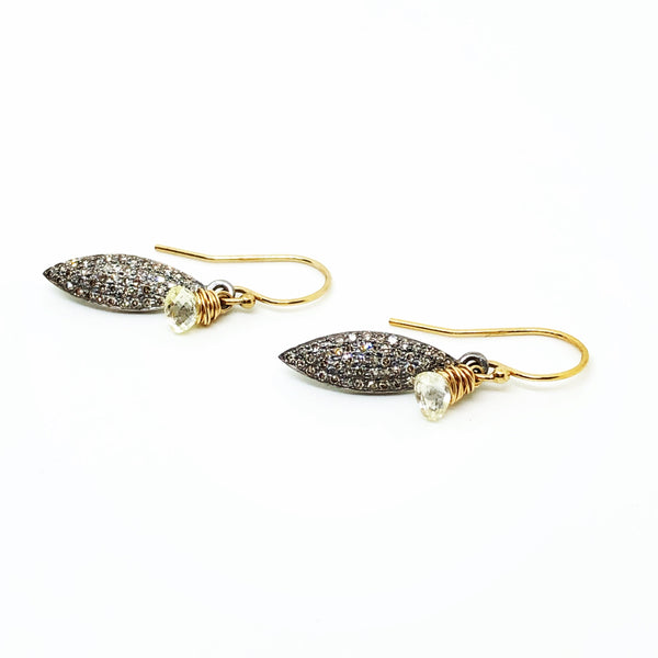 Diamond Briolette Shield Earrings