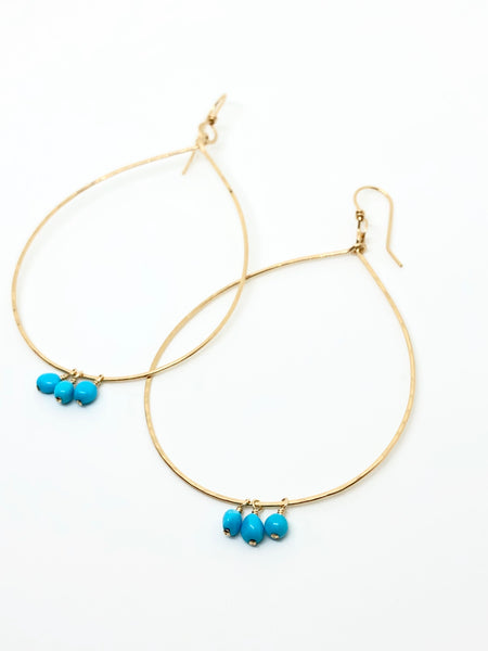 Gemstone Teardrop Hoops