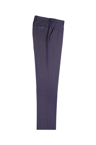 Dark Gray Herringbone Flat Front Wool Dress Pant 2560 by Tiglio Luxe 12A004