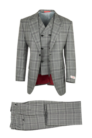 San Giovesse Gray with Black and Purple Plaid/Windowpane, Pure Wool, Wide Leg Suit & Vest by Tiglio Rosso 13165/1