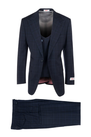 Luca Midnight with New Blue Windowpane, Pure Wool, Wide Leg Suit & Vest by Tiglio Rosso 141542/3