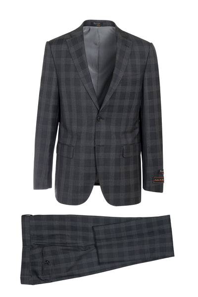 Dolcetto Charcoal Gray with Light Windowpane Modern Fit, Pure Wool Suit by Tiglio Luxe 150101/2