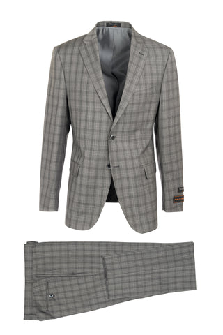 Dolcetto Gray with Black Windowpane Modern Fit, Pure Wool Suit by Tiglio Luxe 150135/1