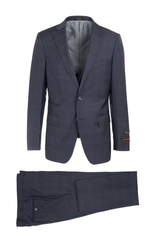Dolcetto Space Blue Windowpane Modern Fit, Pure Wool Suit by Tiglio Luxe 150143/7