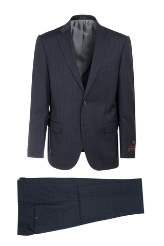 Dolcetto Navy Blue with Black Windowpane Modern Fit, Pure Wool Suit by Tiglio Luxe 187512/2