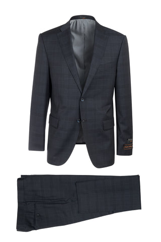 Dolcetto Midnight with Black Windowpane Modern Fit, Pure Wool Suit by Tiglio Luxe 187520/2
