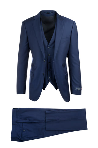 Porto Slim Fit, Pure Wool Suit & Vest, 18800U/0029 Emernegildo Zegna Cloth by Canaletto Menswear