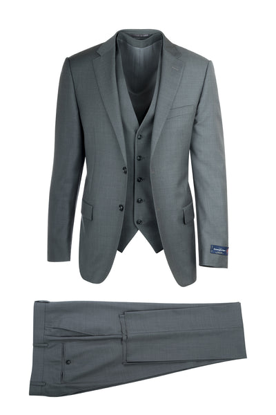 Porto Slim Fit, Pure Wool Suit & Vest, 18800U/0002, Emernegildo Zegna Cloth by Canaletto Menswear
