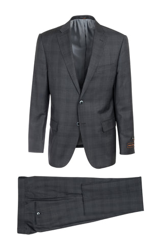 Dolcetto Slate Gray with Dark Windowpane Modern Fit, Pure Wool Suit by Tiglio Luxe 188954/2