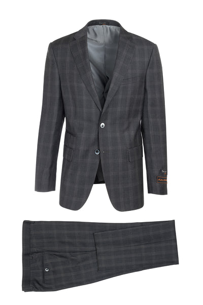 Dolcetto Slate Gray with Cream Windowpane Modern Fit, Pure Wool Suit by Tiglio Luxe 188968/2