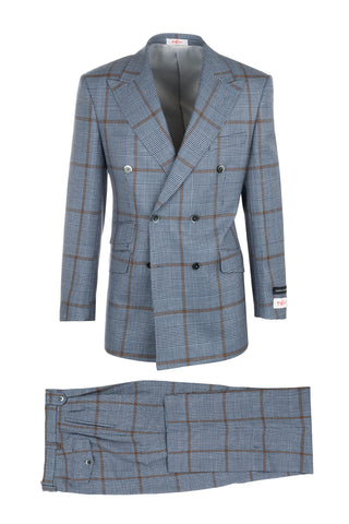 EST Light Blue and Black Houndstooth with Brown Windowpane, Pure Wool, Wide Leg Suit by Tiglio Rosso 225.314/1
