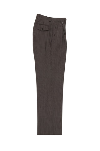 Brown with White Mini-Stripes Wide Leg, Wool Dress Pant 2586/2576 by Tiglio Luxe 2270/7/11
