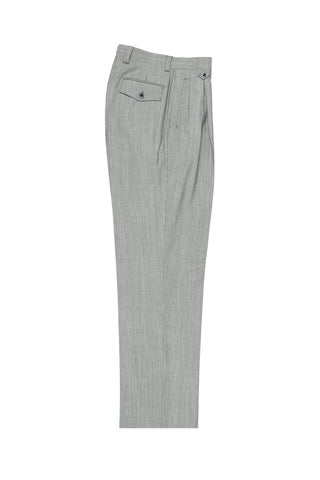 Feather Gray with White Mini-Stripes Wide Leg, Wool Dress Pant 2586/2576 by Tiglio Luxe 2270/7/004