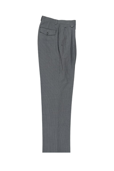 Slate Blue with White Mini-Stripes Wide Leg, Wool Dress Pant 2586/2576 by Tiglio Luxe 2270/7/005