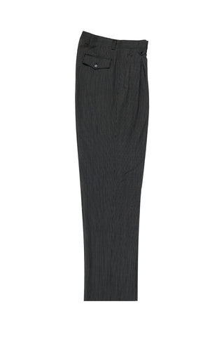 Black with White Mini-Stripes Wide Leg, Wool Dress Pant 2586/2576 by Tiglio Luxe 2270/7/06