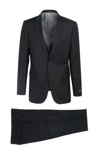 Sangria Black Modern Fit, Pure Wool Suit by Tiglio Luxe 2389-8003