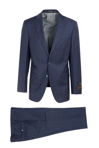Dolcetto Blue with Light Blue Windowpane Modern Fit, Pure Wool Suit by Tiglio Luxe 2472C/135/FB