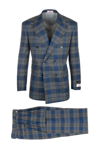 EST Gray with Blue Windowpane/Plaid, Pure Wool, Wide Leg Suit by Tiglio Rosso 261313/5